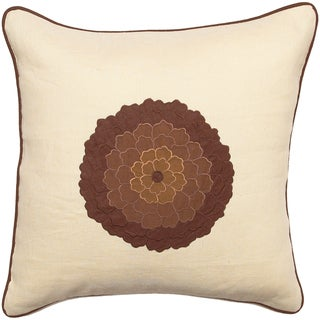 Brianna Beige Floral Medallion 18-inch Decorative Pillow