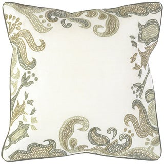 Sydney Ecru Floral Border 18-inch Decorative Pillow