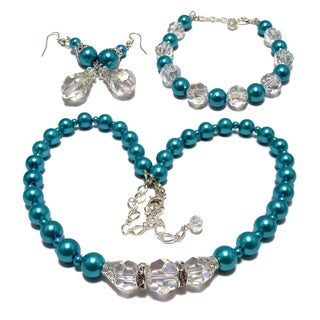 Silverplated Turquoise Blue Glass Pearl and Clear AB Crystal Jewelry Set