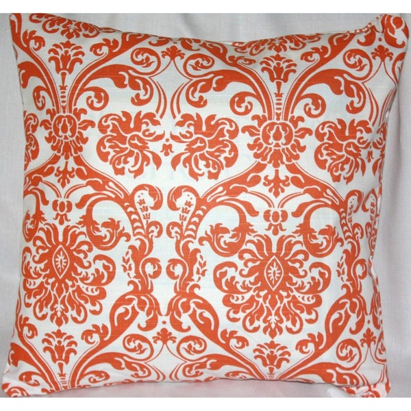 Chili Pepper Orange Damask 20-inch Pillow Cover