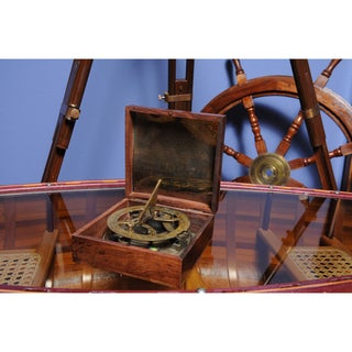 Old Modern Handicrafts Large Sundial Compass with Wooden Case