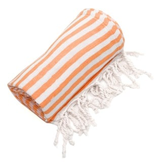 Authentic Pestamal Fouta Orange Turkish Cotton Bath and Beach Towel