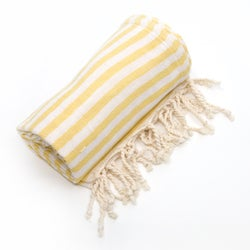 Authentic Pestemal Fouta Sunshine Yellow Turkish Cotton Bath and Beach Towel