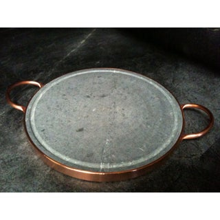 14-Inch Round Soapstone Grill With Copper Handles (Brazil)