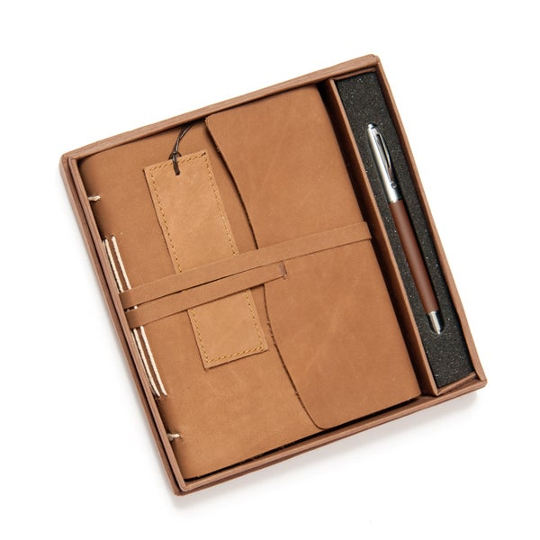 Deluxe Leather Journal Gift Set with Handmade Paper, Bookmark and Rollerball Pen (India)