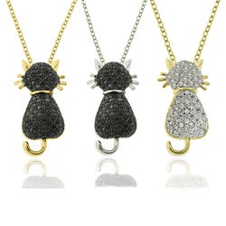 Dolce Giavonna 18k Gold or Silver Overlay Pave Cubic Zirconia Cat Necklace