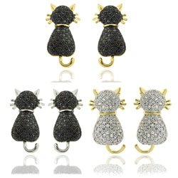 Dolce Giavonna Gold or Silver Overlay Cubic Zirconia Cat Stud Earrings