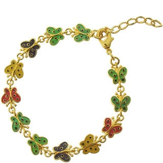 Molly and Emma 18k Gold Overlay Children's Enamel Butterfly Bracelet