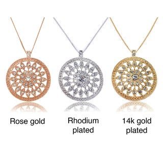 Riccova Color-plated White Crystal Starburst Medallion Necklace