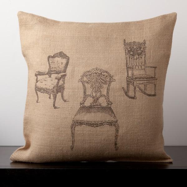 Addeson Natural Burlap Novelty 18-inch Decorative Down Pillow