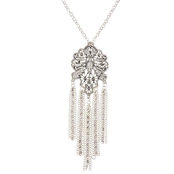 Alexa Starr Silvertone Lace Tassel Necklace