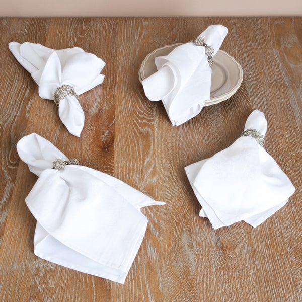 White or Mocha Jacquard Napkin (Set of 12)