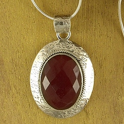 Sterling Silver 'Inner Fire' Carnelian Necklace (India)
