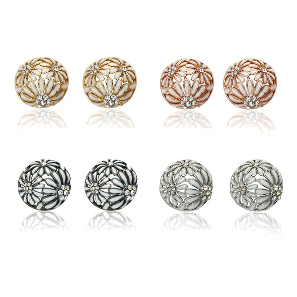 Riccova Color-plated Crystal and Enamel Flower Button Earrings
