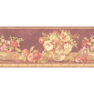 Brewster Light Brown Fruit Floral Border Wallpaper