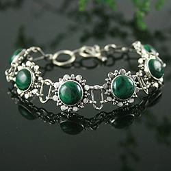 Sterling Silver 'Mystical Blooms' Malachite Bracelet (India)