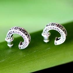 Sterling Silver 'Artistry' Half Hoop Earrings (Indonesia)