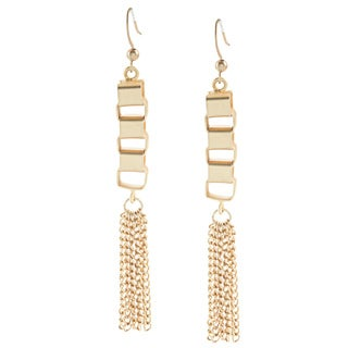 Alexa Starr Goldtone Box Chain Tassel Earrings