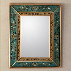 26-inch Handcrafted Reverse Painted Glass 'Emerald Fields' Mirror (Peru)