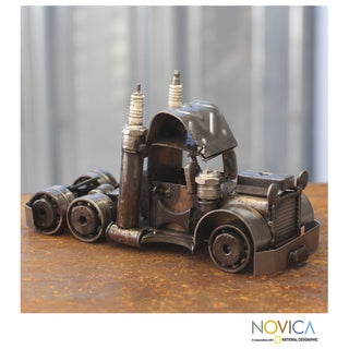 Handcrafted Auto Part 'Rustic Semi Truck Cab' Sculpture (Mexico)