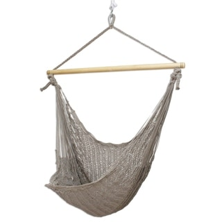 Handmade Grey Cotton Large Deluxe Hammock Swing Chair (Mexico)