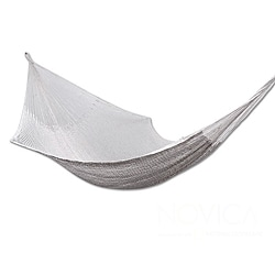 Handcrafted Cotton 'Caribbean Sands' Double Hammock (Mexico)