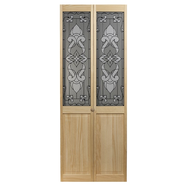 Eternity Unfinished Decorative Glass Bi Fold Door 15143379 Overstock Com Shopping Great