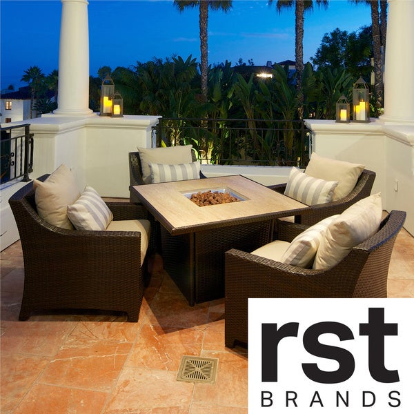 RST Slate 5-Piece Fire Table Seating Set Patio Furniture