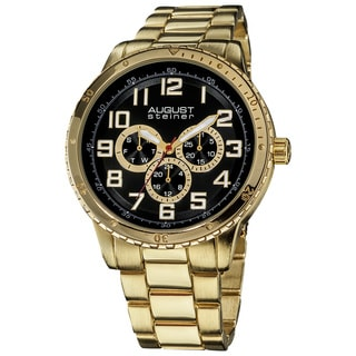 August Steiner Men's Quartz Multifunction Goldtone Bracelet Watch