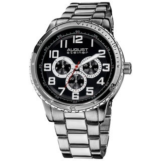 August Steiner Men's Quartz Multifunction Silvertone Bracelet Watch