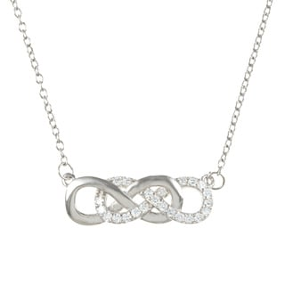 La Preciosa Sterling Silver Cubic Zirconia Intertwined Infinity Necklace