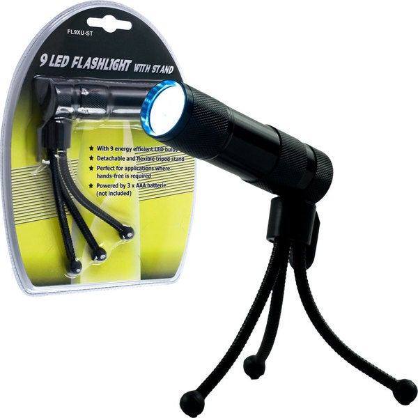 Stalwart 9 LED Flashlight with Adjustable Tripod