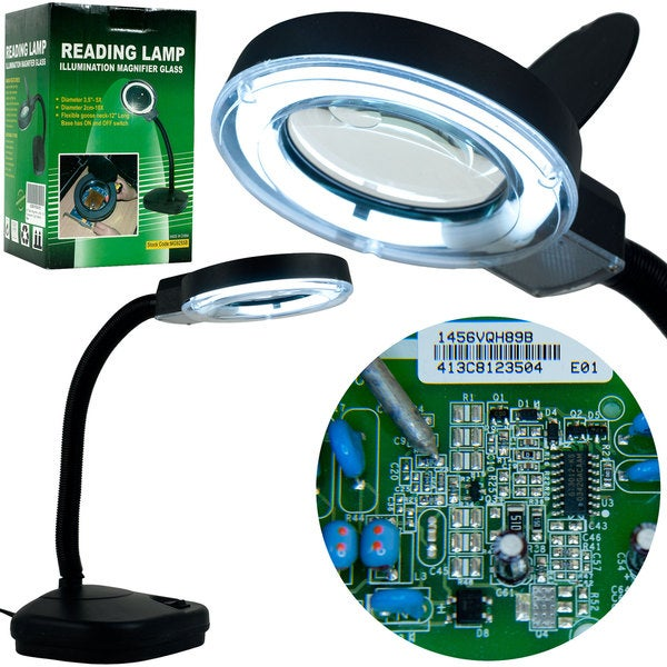 Trademark Tools Fluorescent Gooseneck Magnifier Light with Power Lens