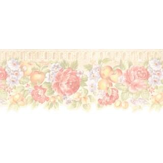 Brewster Peach Fruit Floral Border Wallpaper