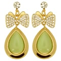 Kate Marie Goldtone Green and White Rhinestone Bow Earrings