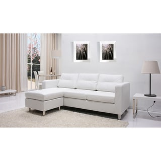 Detroit White Convertible Sectional Sofa and Ottoman Set