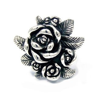 Gorgeous Rose Bouquet .925 Silver Floral Ring (Thailand)