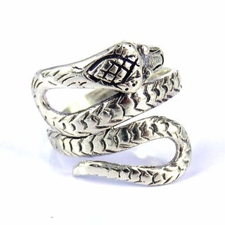 Cobra Snake Coil Wrap Around .925 Silver Ring (Thailand)