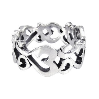 Aum or Om Prayer Sign Around Band .925 Silver Ring (Thailand)