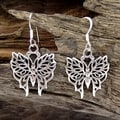 Pretty Wild Butterfly .925 Silver Dangle Earrings (Thailand)
