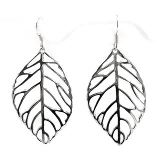 Pretty Outline Leaf Sterling Silver Dangle Earrings (Thailand)