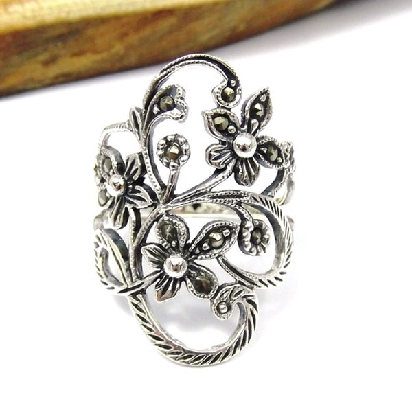 Beautiful Marcasite Flower Vine .925 Silver Ring (Thailand) 10696717