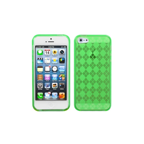 INSTEN Green Diamond Argyle Plaid TPU Phone Case Cover for Apple iPhone 5