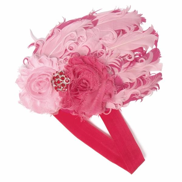 Hot Pink Rhinestones and Feather Headband