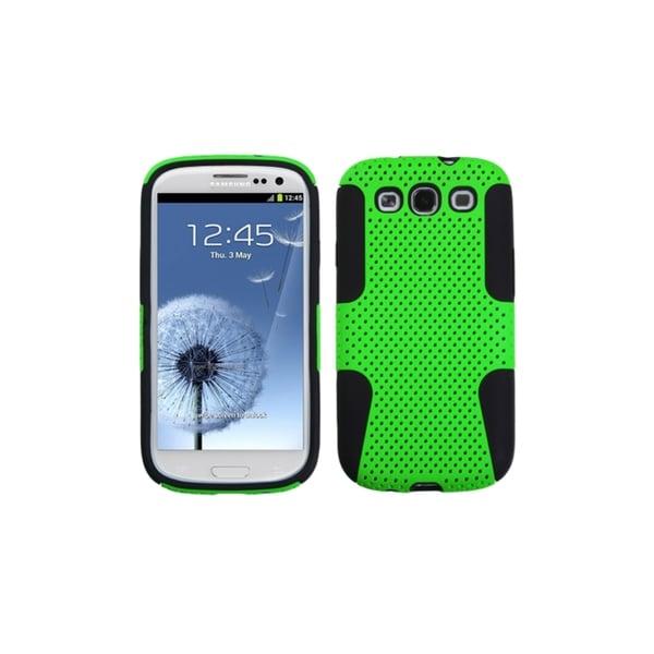 ASMYNA Black/Green Mesh Hybrid Cover Case for Samsung© Galaxy S3 III
