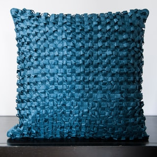 Jocelyn Slate Blue Ribbon Textured 18x18-inch Decorative Down Pillow