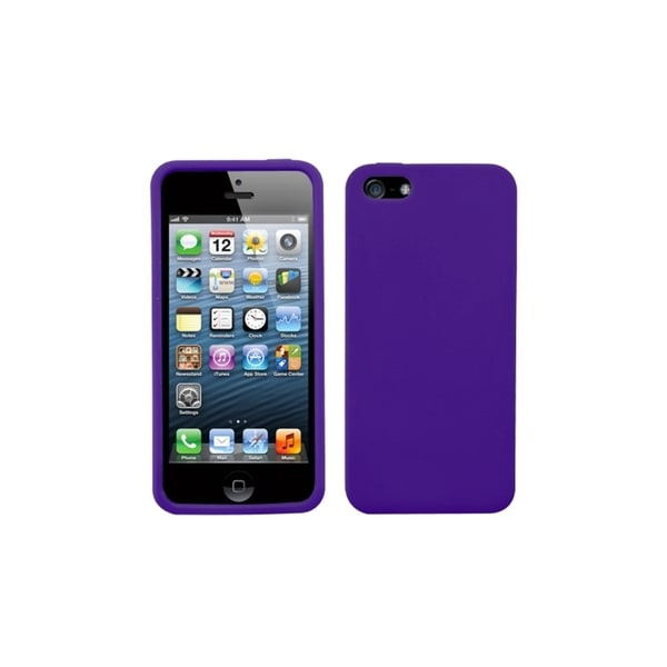 INSTEN Solid Purple Soft Silicone Rubber Gel Phone Case Cover for Apple iPhone 5