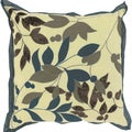 Khloe Cream Floral Leaves 18x18-inch Decorative Down Pillow