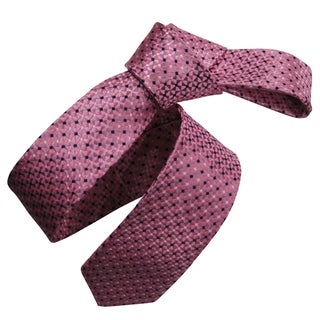 Dmitry Men's Pink Italian Silk Patterned Skinny Tie