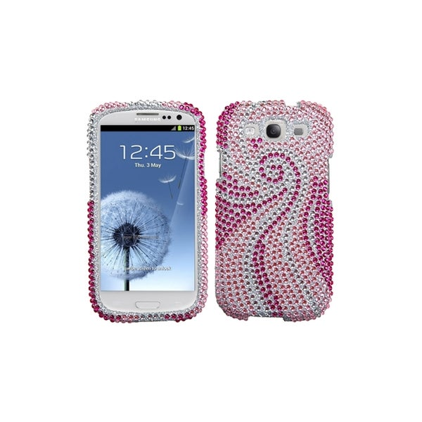 MYBAT Pink White Diamond Bling Cover Skin Case for Samsung© Galaxy S3